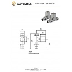 Chrome Cubic Manual Straight Radiator Valves Technical Drawing