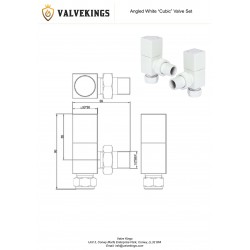 White Cubic Manual Angled Radiator Valves  Technical Drawing