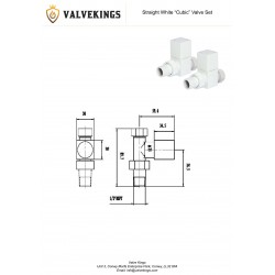 White Cubic Manual Straight  Radiator Valves Technical Drawing