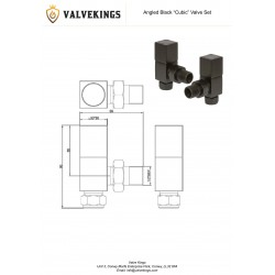 Black Cubic Manual Angled Radiator Valves Technical Drawing