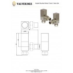Brushed Nickel Cubic Manual Angled   Radiator Valves Technical Drawing