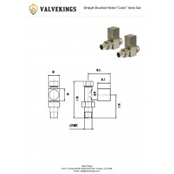 Brushed Nickel Cubic Manual Straight Radiator Valves Technical Drawing