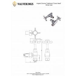 Angled Chrome Cross Head Traditional Radiator Valves Technical Drawing