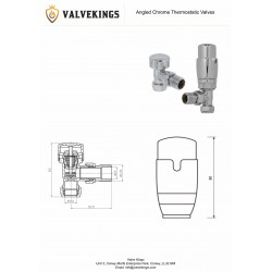 Chrome Thermostatic Angled Radiator Valves Technical Drawing