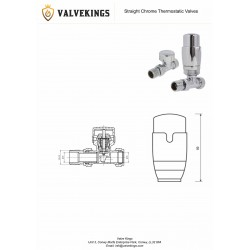 Chrome Thermostatic Straight Radiator Valves Technical Drawing