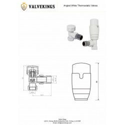 White Thermostatic Angled Radiator Valves Technical Drawing