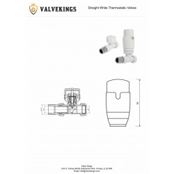 White Thermostatic Straight Radiator Valves Technical Drawing