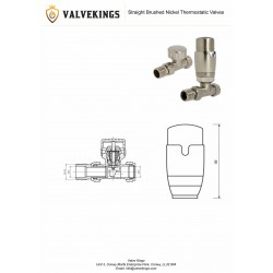 Brushed Nickel Thermostatic Straight Radiator Valves Technical Drawing