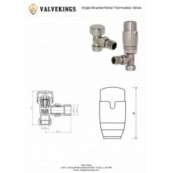 Brushed Nickel Thermostatic Angled Radiator Valves Technical Drawing