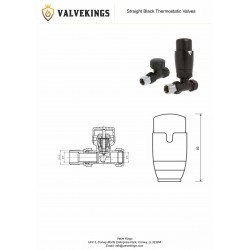 Black Thermostatic Straight Radiator Valves Technical Drawing