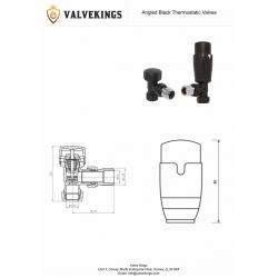 Black Thermostatic Angled Radiator Valves technical Drawing