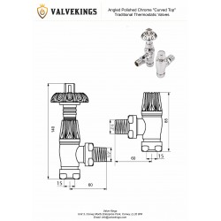 Chrome Traditional Thermostatic Angled Radiator Valves Technical Drawing