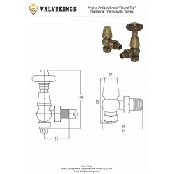 Antique Brass Traditional Thermostatic Angled Radiator Valves Technical Drawing