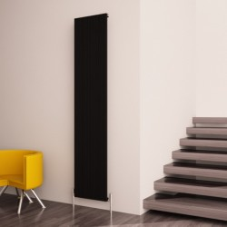 Carisa Monza Black Aluminium Radiator - 375 x 1800mm - Installed