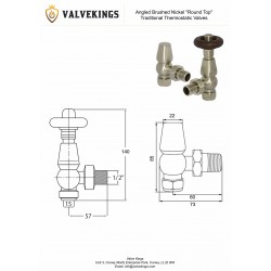 Brushed Nickel Traditional Thermostatic Angled Radiator Valves Technical Drawing