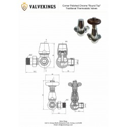 Chrome Traditional Thermostatic Corner Radiator Valves Technical Drawing