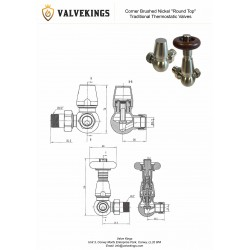 Brushed Nickel Traditional Thermostatic Corner Radiator Valves Technical Drawing
