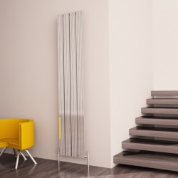 Carisa Monza Polished Aluminium Radiator - 375 x 1800mm - Installed
