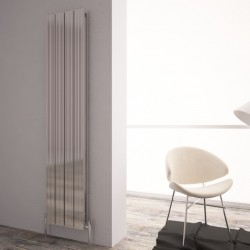 Carisa Monza Double Polished Aluminium Radiator - 375 x 1800mm - Installed