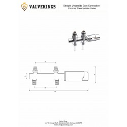 Straight Underside Euro Connection Chrome Thermostatic Valves Technical Drawing