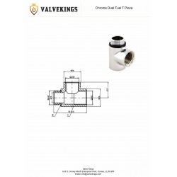 Chrome Dual Fuel T Piece Technical Drawing