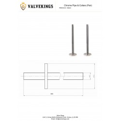 Chrome Radiator Pipe & Collars Technical Drawing