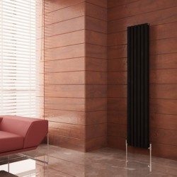 Carisa Tallis Double Black Aluminium Radiator - 350 x 1800mm - Installed