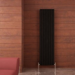 Carisa Tallis Double Black Aluminium Radiator - 470 x 1800mm - Installed
