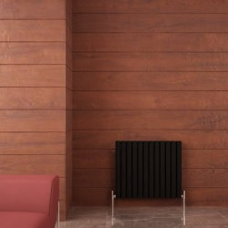 Carisa Tallis Double Black Aluminium Radiator - 710 x 600mm - Installed