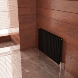 Carisa Tallis Double Black Aluminium Radiator - 950 x 600mm - Installed