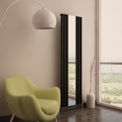 Carisa Tallis Black Aluminium Mirror Radiator - 550 x 1800mm - Installed