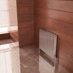 Carisa Tallis Double Polished Aluminium Radiator - 710 x 600mm - Installed