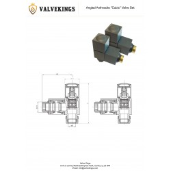 Angled Anthracite Square Radiator Valves - Technical Drawing