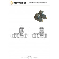 Straight Anthracite Square Radiator Valves - Technical Drawing