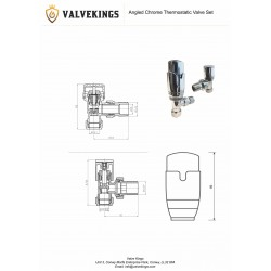 Angled Chrome Thermostatic Radiator Valves - Technical Drawing