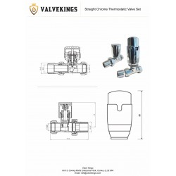 Straight Chrome Thermostatic Radiator Valves - Technical Drawing
