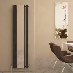 Carisa Sophia Black Aluminium Mirror Radiator - 415 x 1800mm