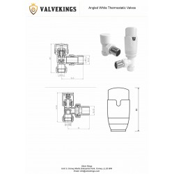 Angled White Thermostatic Radiator Valves - Technical Drawing