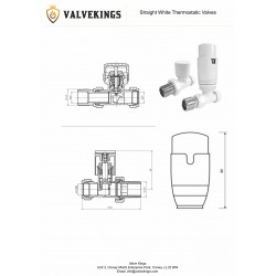Straight White Thermostatic Radiator Valves - Technical Drawing