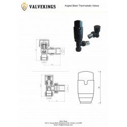 Angled Black Thermostatic Radiator Valves - Technical Drawing