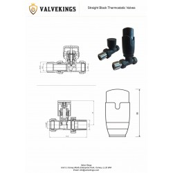 Straight Black Thermostatic Radiator Valves - Technical Drawing