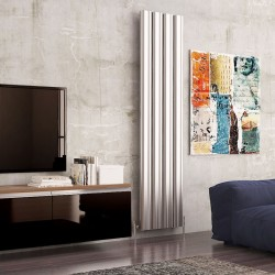 Carisa Wave Polished Aluminium Radiator - 495 x 1800mm