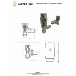 Angled Brushed Nickel Thermostatic Radiator Valves - Technical Drawing