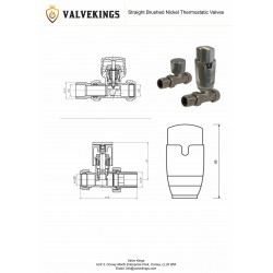Straight Brushed Nickel Thermostatic Radiator Valves - Technical Drawing