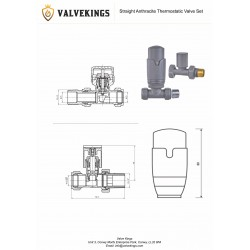 Straight Anthracite Thermostatic Radiator Valves - Technical Drawing