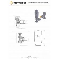 Angled Anthracite Thermostatic Valves - Technical Drawing