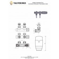 Angled Underside Euro Connection Anthracite Thermostatic Valves - Technical Drawing