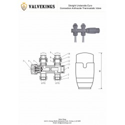 Straight Underside Euro Connection Anthracite Thermostatic Valves - Technical Drawing