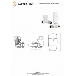 White Thermostatic Corner Radiator Valves Technical Drawing