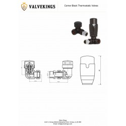 Black Thermostatic Corner Radiator Valves Technical Drawing